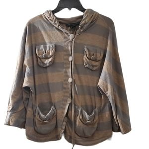 Marc By Marc Jacobs Brown Gray Striped Jacket S